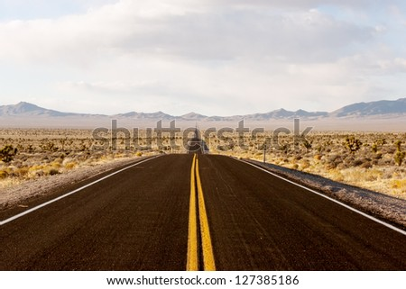 Endless road through Death Valley national park in California