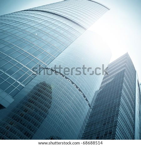 endless side of glass skyscraper in business center #68688514