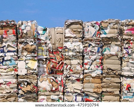Endless stock paper and cardboard recycling   - stock photo