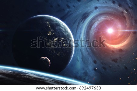 Endless universe, science fiction image, dark deep space with giant planets, hot stars, starfields. Incredibly beautiful cosmic landscape . Elements of this image furnished by NASA #692497630