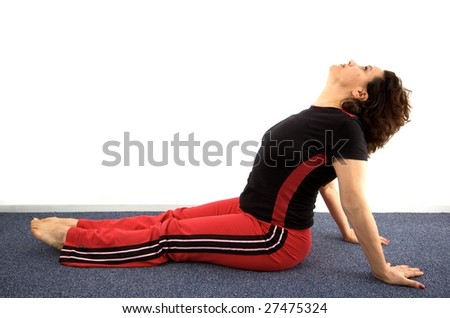 Energetic adult woman performing a workout with various yoga positions