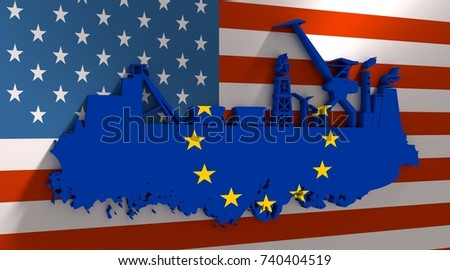 Energy and Power icons set and grunge brush stroke. Energy generation, transportation and heavy industry relative image. Flags of the USA and European Union. 3D rendering #740404519