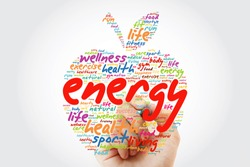 ENERGY apple word cloud with marker, health concept background