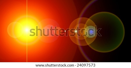 Energy background. Sun and lens flare. Computer generated