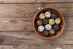 Energy balls made from a natural mixture of dried fruits and nuts(dates,dried apricots,raisins,walnuts,prunes). Healthy diet.