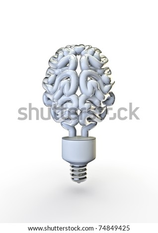 energy bulb brain - stock photo