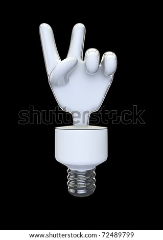 energy bulb victory or peace sign