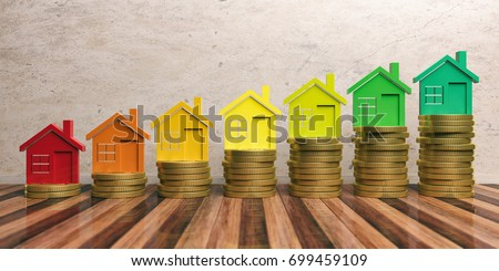Energy certificate. Low energy and save money concept in construction. 3d illustration