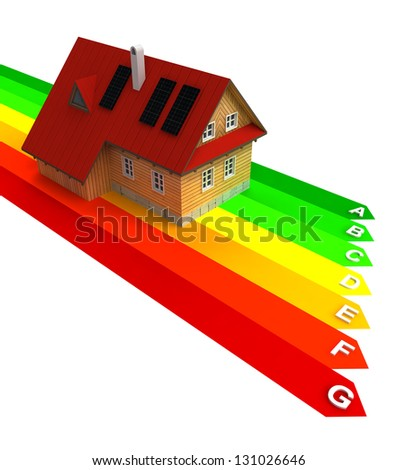 energy chart with new energy save building illustration