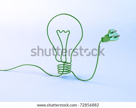 Energy concept - bulb shaped electric cord - stock photo