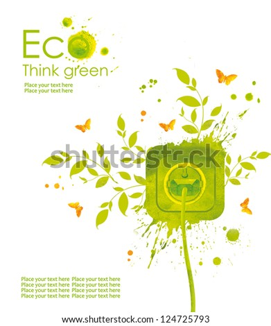 Energy concept.Illustration environmentally friendly planet. Green socket, grass, butterfly and splash of paint,from watercolor stains,isolated on a white background. Think Green. Ecology Concept.
