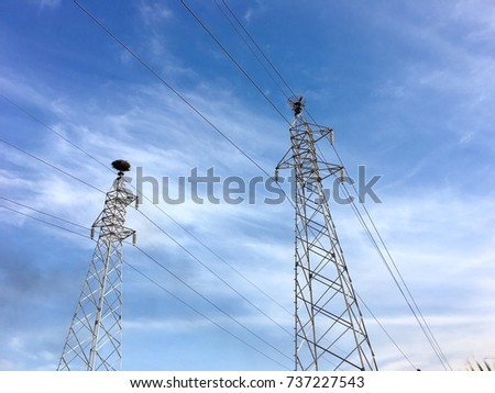 Energy Distribution towers and wires, Network Electricity poles blue sky with clouds background  #737227543