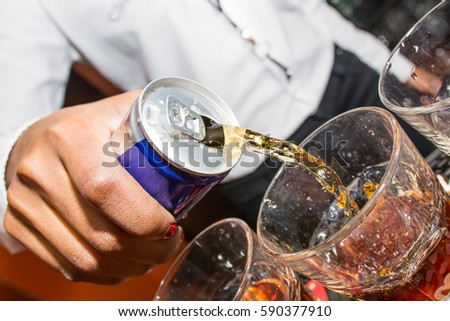 Energy drink being poured by bartender