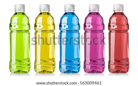 energy drinks with different flavors on a white background with clipping path
