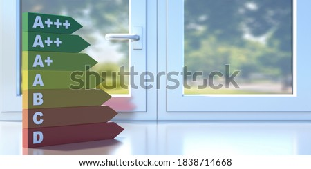 Energy efficiency chart on a closed aluminum profile frame sill. Thermal insulation concept, room interior. 3D illustration Foto stock ©