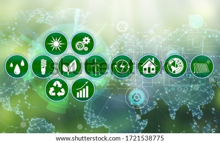 Energy efficiency concept. Different icons on green background Foto stock ©