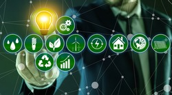 Energy efficiency concept. Man demonstrating scheme with icons, closeup