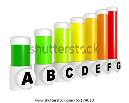 Energy efficiency concept, symbols on a white background