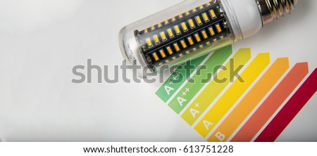 Energy efficiency concept with energy rating chart and LED lamp on white background #613751228