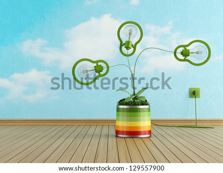 Energy efficiency concept with green lamp in a vase with grass- rendering