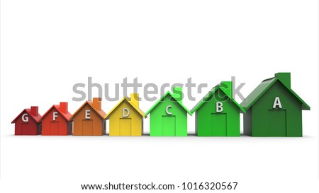 Energy efficiency directive and multi colored houses. 3D illustration