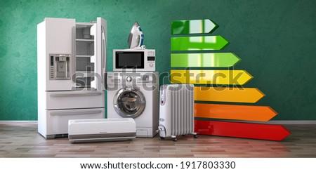 Energy efficiency of home kitchen appliances concept. 3d illustration