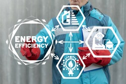 Energy Efficiency Rate Concept. Effective Saving Power Ecology Industrial Technology. Modern Construction.
