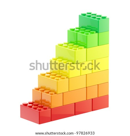 Energy efficiency step stair made of  toy construction brick blocks isolated on white