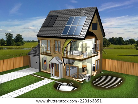 Energy Efficient House, Garden and Background