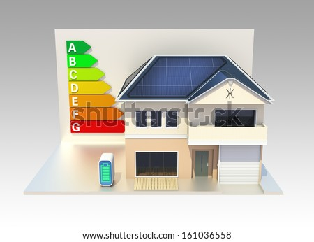 Energy efficient house with energy classification chart. clipping path available.