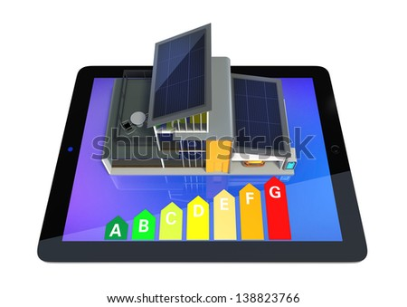 Energy efficient house with tablet computer which show energy classification chart.