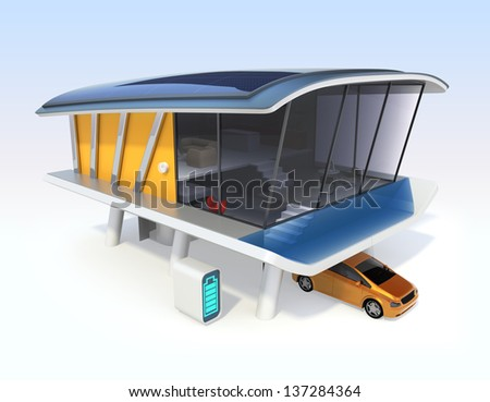 Energy efficient houses concept. Single house. Electric vehicles, home batteries system,roof mounted solar panels.Original design.
