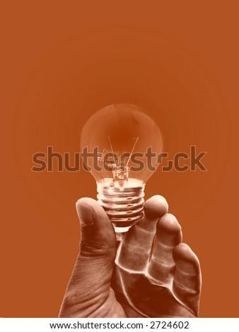 energy, electricity, hand, idea, illuminate, lamp, light, power