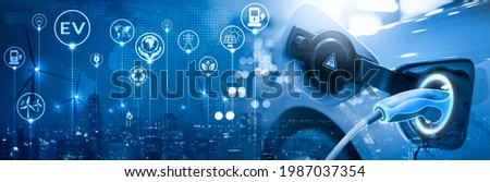 Energy EV car concept. Futuristic hybrid vehicle charge battery electric on station blur cityscape on panoramic banner blue background with icon illustration environment friendly. green eco technology