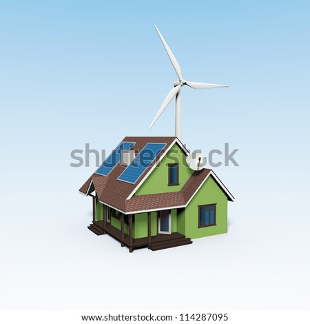 energy house with wind turbine and solar panels