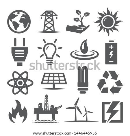 Energy icons set on white background