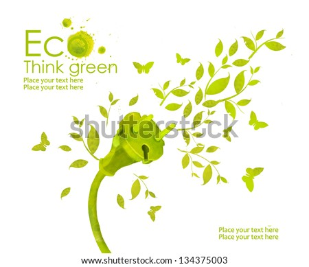 Energy plug.Illustration environmentally friendly planet. Green socket, grass, butterfly and splash of paint,from watercolor stains,isolated on a white background. Think Green. Ecology Concept.