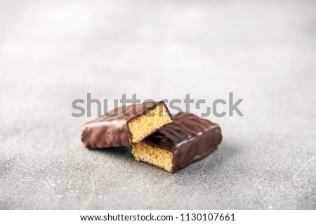 Energy protein bar on grey background.