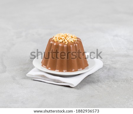 Energy pudding, creamy hazelnut chocolate dessert on a plate on a light gray background Foto stock ©