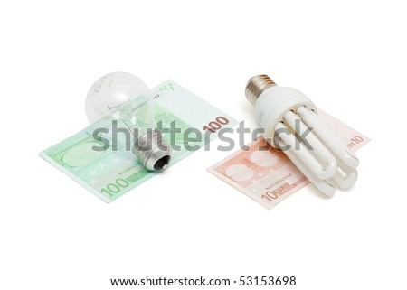 Energy save lamp versus bulb on euro bills isolated