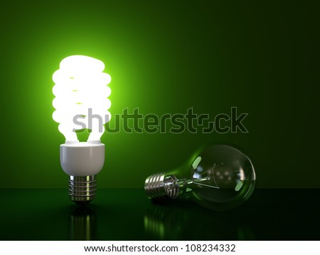 Energy saving and simple light bulb isolated on green background.