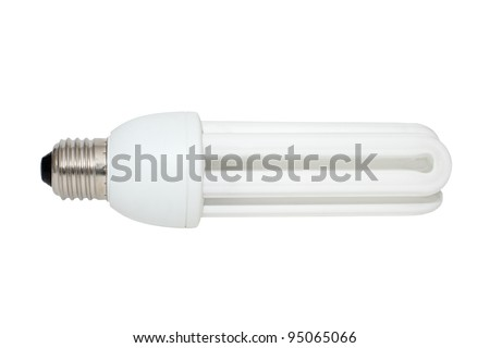 energy saving compact fluorescent light bulb isolated on white