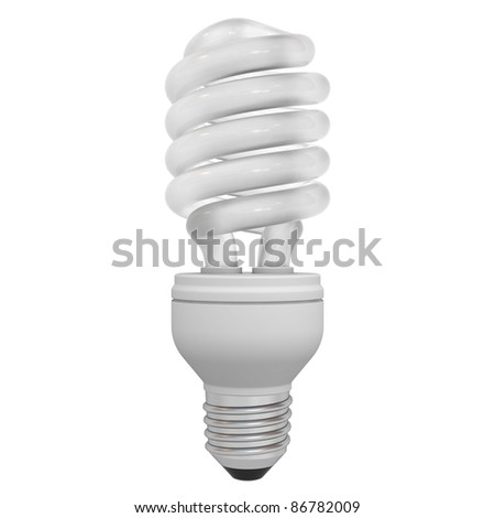 Energy saving compact fluorescent light bulb isolated on white background