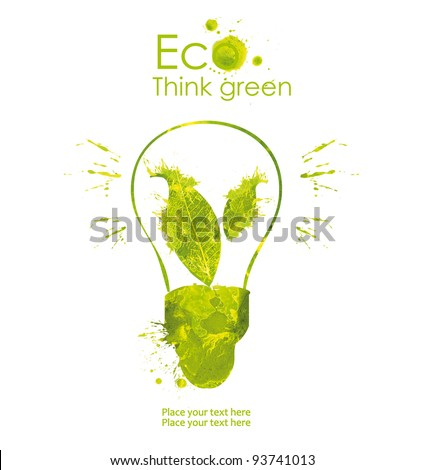Energy saving eco lamp hand drawn, isolated on a white background