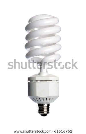Energy saving fluorescent  light bulb (CFL) isolated on a white background.