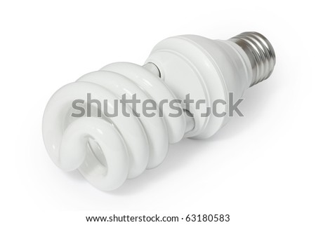 Energy saving fluorescent light bulb (CFL). Isolated on white background with clipping path.