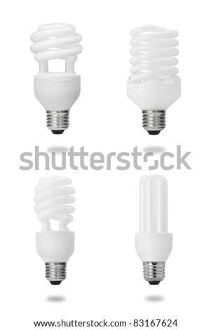 energy saving fluorescent light bulb collection isolated on white - stock photo