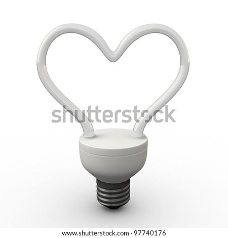 Energy saving fluorescent light bulb in shape of heart on white background