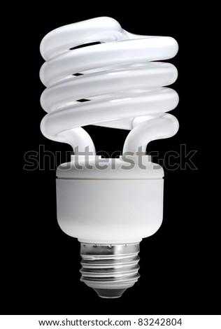 Energy saving fluorescent light bulb, isolated with clipping path