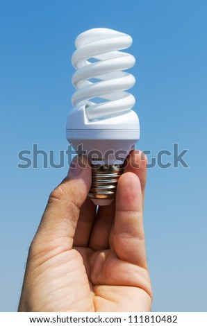 energy saving lamp in hand